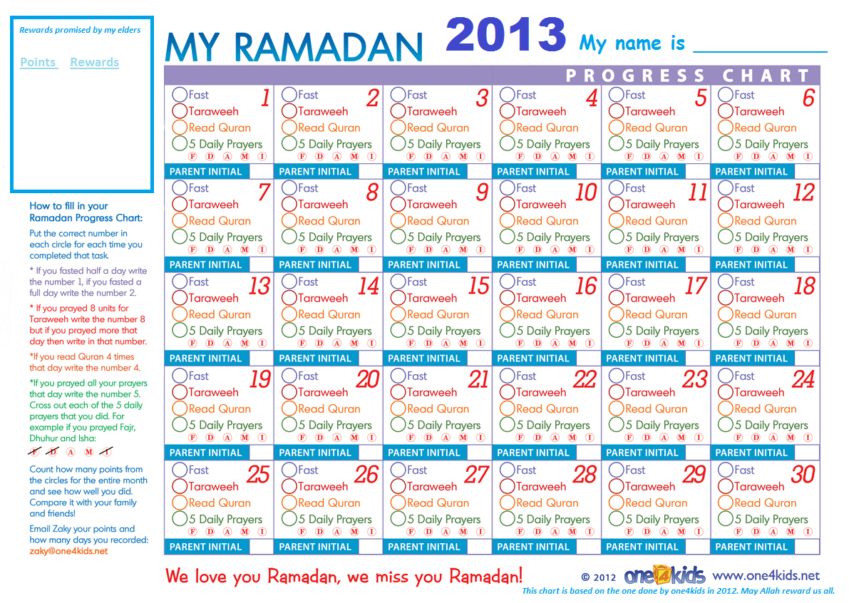 Ramadan Chart 2013  Progress Chart For Kids