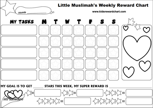 little muslimah reward chart _ aged 6 up