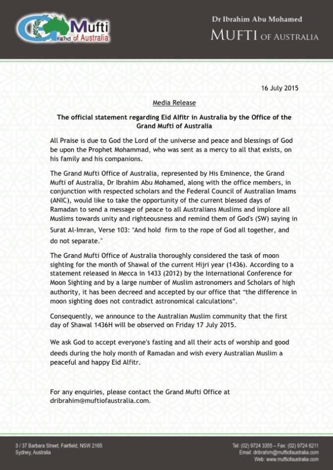 mufti australia eid ul fitr 2015_ english
