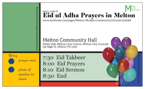 eid ul adha prayers melton 2015