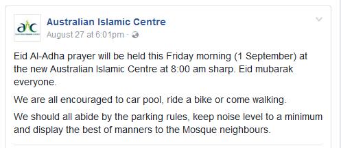 australian islamic centre eid prayers 2017