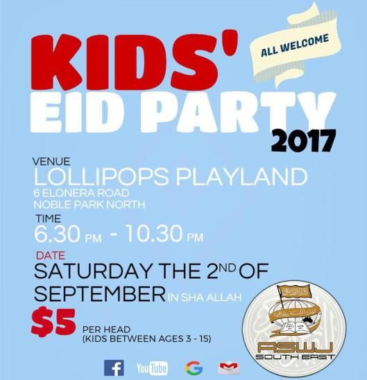 eid kids party in southeast melbourne 2017