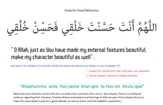 duaa for good behaviour not mirror